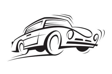 white car: astratto illustrazione in bianco e nero di una macchina