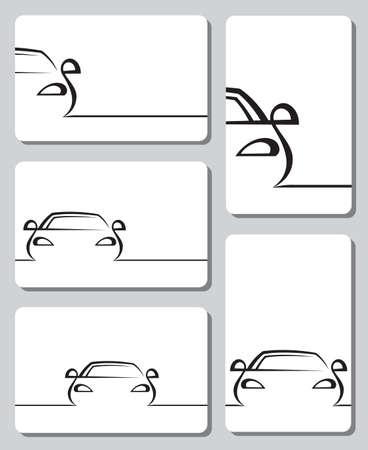 silhouette voiture: cinq cartes avec des voitures abstraites