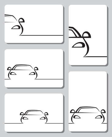 car drawing: five cards with abstract cars