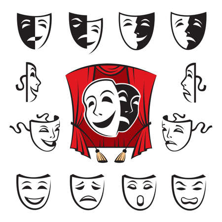 tragedy mask: set of theatrical masks