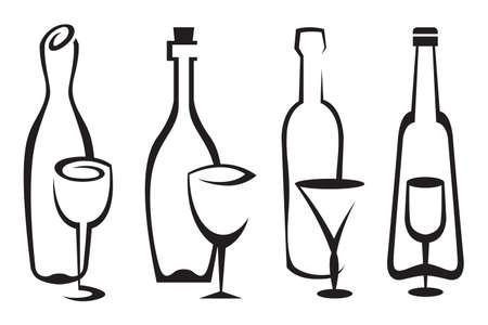 wine cork: bottles and glasses set