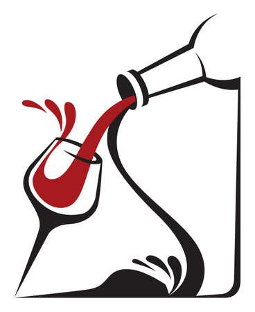 weingläser: Flasche und Glas Illustration