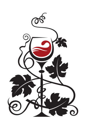wine label design: glass and grapes