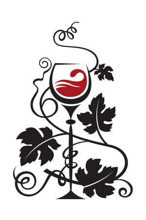 red wine bottle: vidrio y uvas