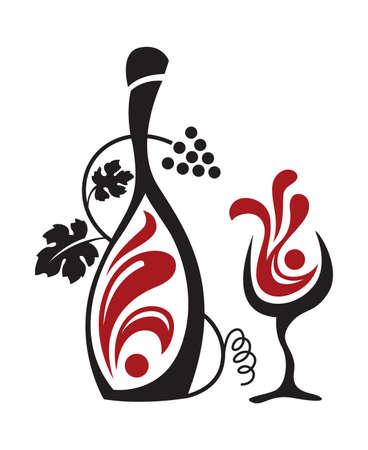 bouteille de vin: verre et raisins