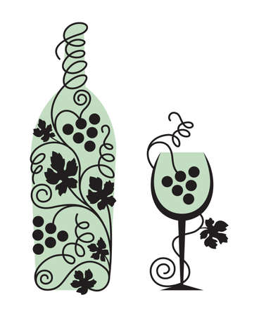 glass and grapes Vector