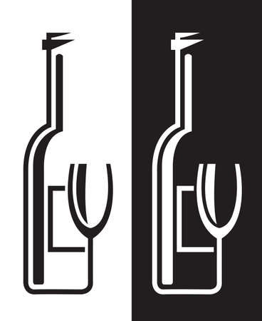 bottles and glasses Vector