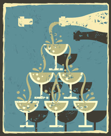 champagne celebration: vintage illustration of bottle and glasses