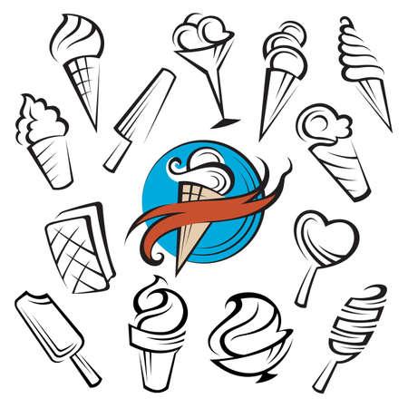 frozen glass: ice creams set Illustration