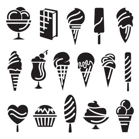 helado de chocolate: conjunto de dieciséis helados Vectores