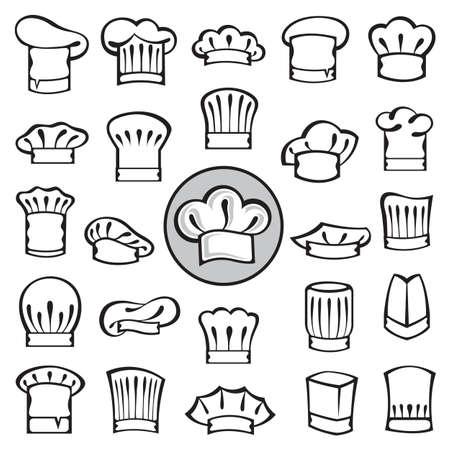 chapeau chef: ensemble de toques de chefs Illustration