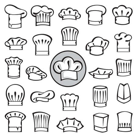 delicatessen: set of chef hats Illustration