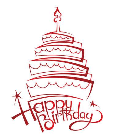 happy birthday cake: torta de cumplea�os Vectores