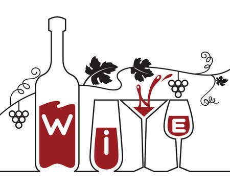 bottle, glasses and grapes Vector