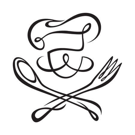 chef with spoon and fork Illustration