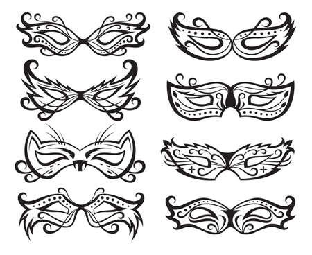 mascaras de carnaval: conjunto de m�scaras de carnaval aisladas