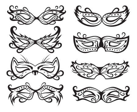 set of isolated carnival masks Stock Vector - 17466582