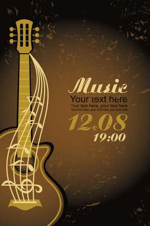 popular music concert: banner con una chitarra acustica su sfondo marrone