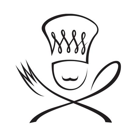 hunger: chef with spoon and fork Illustration