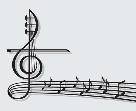 piano key: musical notes Illustration