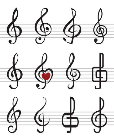 treble clef: treble clefs Illustration