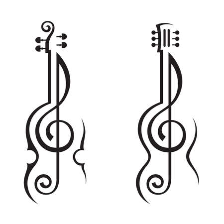 violin, guitar and treble clef Vector