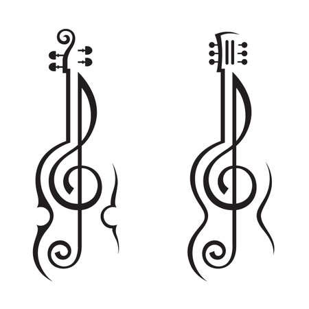 chiave di violino: violino, chitarra e chiave di violino Vettoriali