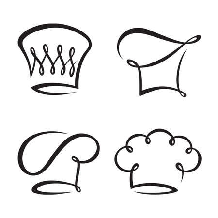 gourmet cooks: monochrome set of four chef hats