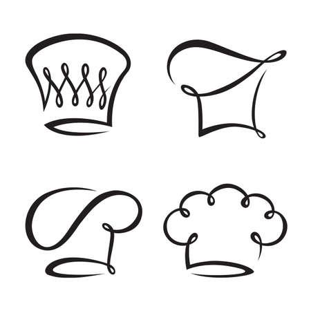 zwart-wit set van vier koksmutsen Vector Illustratie