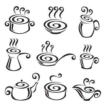 soup pot: Food icon set Illustration