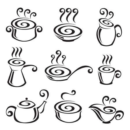 soup pot: Food icon set Illustration