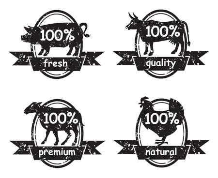 macellaio: set di etichette macelleria Vettoriali