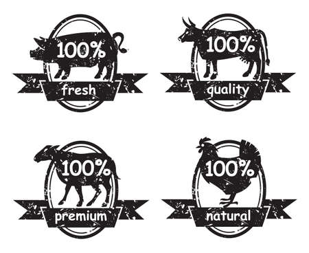 meat  grinder: set of butcher shop labels