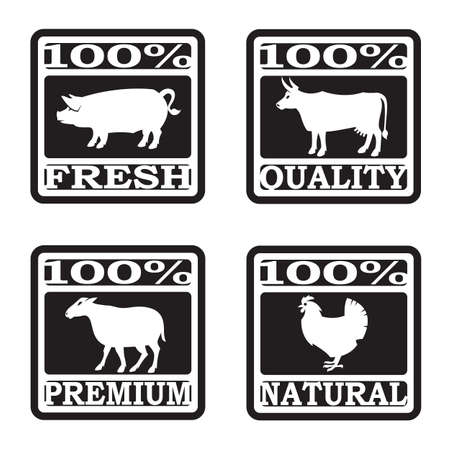 steak beef: set of butcher shop labels