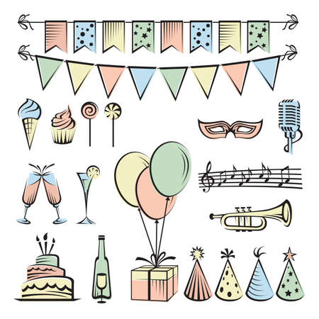 birthday cupcakes: party and celebration icon collection