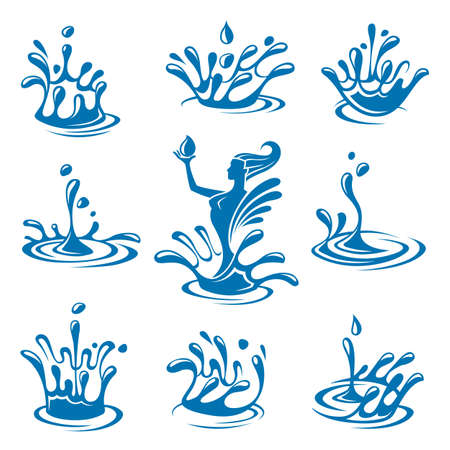 water surface: set of abstract waters icons