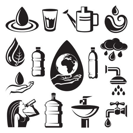 monochrome set of different symbols of water
