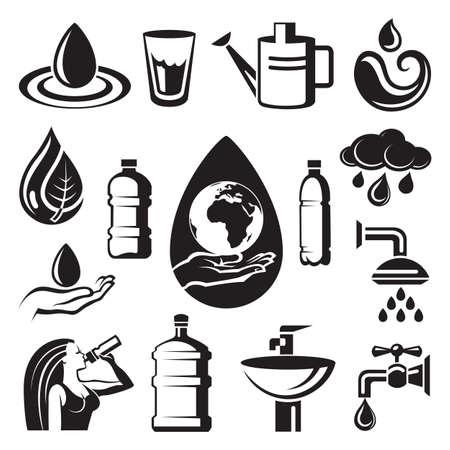 vaso de agua: Monochrome Set de s�mbolos diferentes de agua Vectores