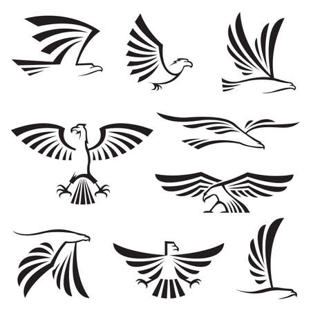 eagle: set of nine eagle symbols