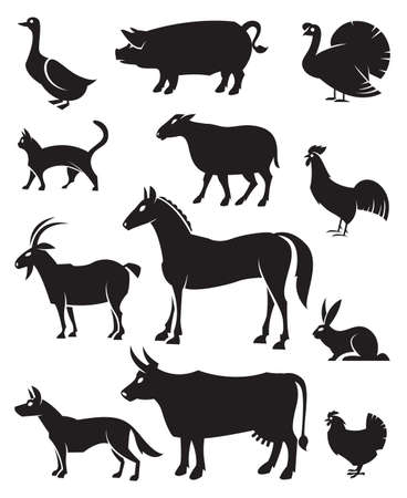 monochrome illustration of twelve farm animals
