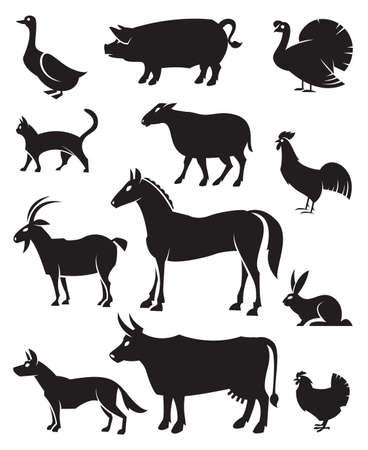 animales granja: Ilustración monocromática de los doce animales del campo