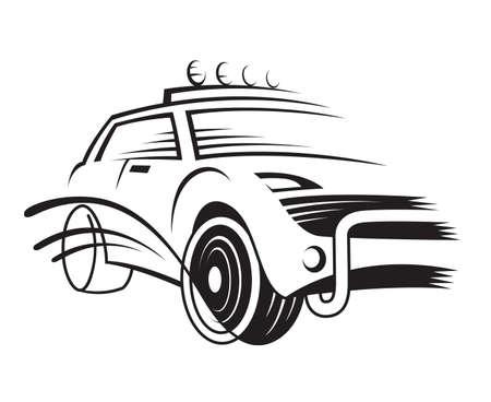 monochrome illustration of a car Vector