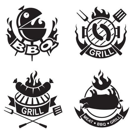 carne a la brasa: Conjunto de cuatro banderas de barbacoa Vectores