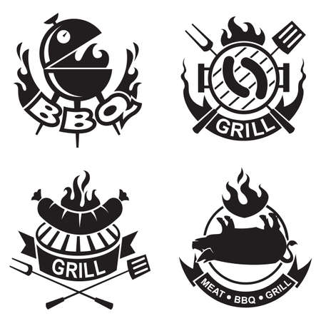 charcoal grill: set of four barbecue banners