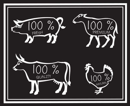 chalk board: farm animals