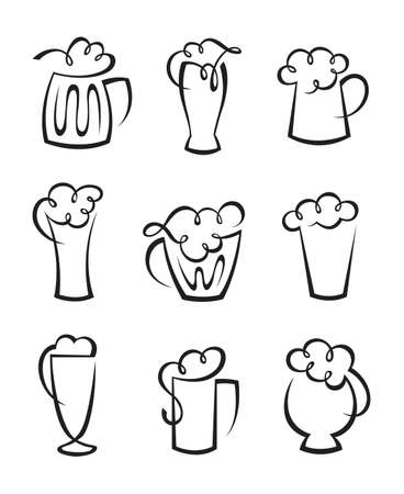 taverns: set of beer glasses Illustration