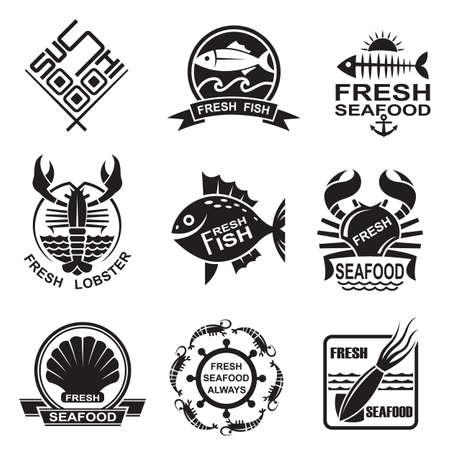 calamar: conjunto de nueve iconos de mariscos monocromo Vectores
