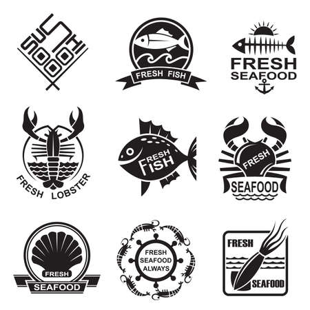 set of nine monochrome seafood icons  Vector