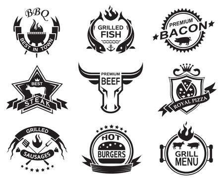 hamburguesa: Conjunto de elementos para un restaurante dise�os Vectores
