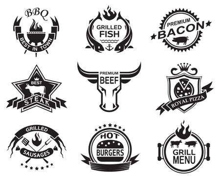 pig roast: Set of elements for a restaurant designs